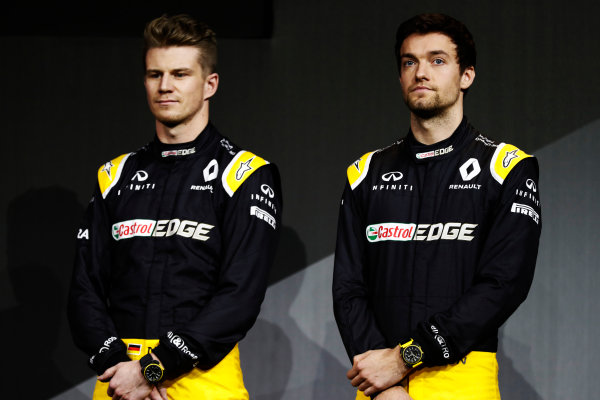 Renault  RS17  Formula 1 Launch. The Lindley Hall, London, UK. Tuesday 21 February 2017. Nico Hulkenberg, Renault Sport F1. and Jolyon Palmer, Renault Sport F1.  World Copyright: Glenn Dunbar/LAT Images Ref: _31I9090