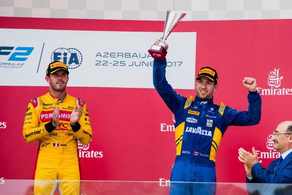 2017 FIA Formula 2 Round 4. Baku City Circuit, Baku, Azerbaijan. Sunday 25 June 2017. Norman Nato (FRA, Pertamina Arden), Nicholas Latifi (CAN, DAMS)  Photo: Zak Mauger/FIA Formula 2. ref: Digital Image _56I8635