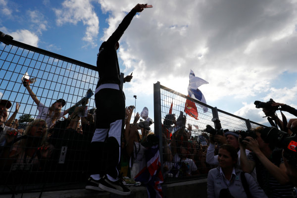 Hungaroring, Budapest, Hungary.  Thursday 27 July 2017. Lewis Hamilton, Mercedes AMG, interacts with fans by taking a photo. World Copyright: Steven Tee/LAT Images  ref: Digital Image _O3I4961