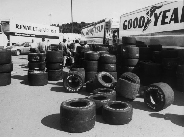 Spa-Francorchamps, Belgium. 2nd June 1985.The race was cancelled after practice when the newly-laid track broke up due to the heat. Unused tyres from Goodyear in the paddock. The race was re-run on the 15th September.World Copyright: LAT Photographic.Ref:  B/W Print.