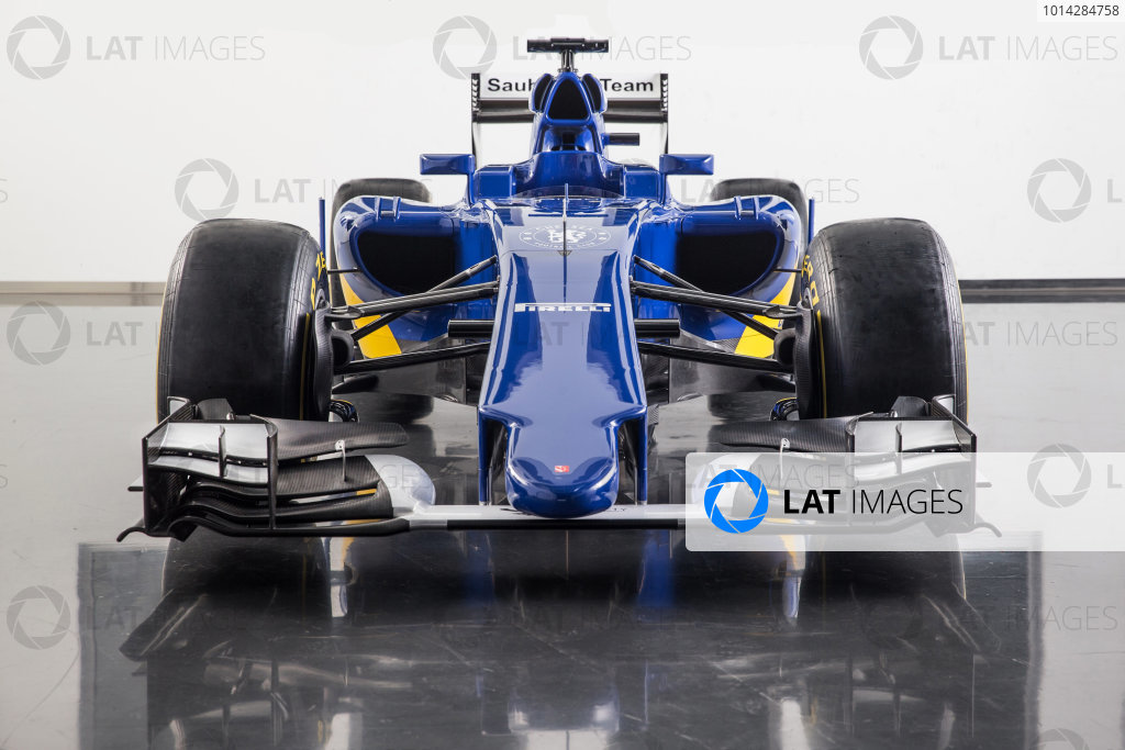 Sauber C34 Reveal. Hinwil, Switzerland. Friday 30 January 2015. The Sauber C34-Ferrari. Photo: Sauber F1 Team (Copyright Free FOR EDITORIAL USE ONLY) ref: Digital Image 20150130_Sauber_C34-Ferrari_Front