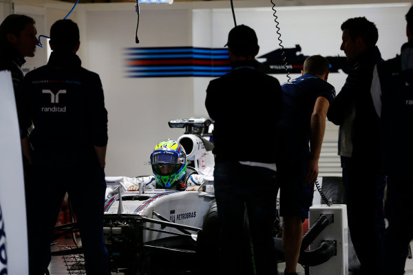 Shanghai International Circuit, Shanghai, China. Thursday 9 April 2015. Felipe Massa, Williams F1, in the garage. World Copyright: Charles Coates/LAT Photographic. ref: Digital Image _J5R6427