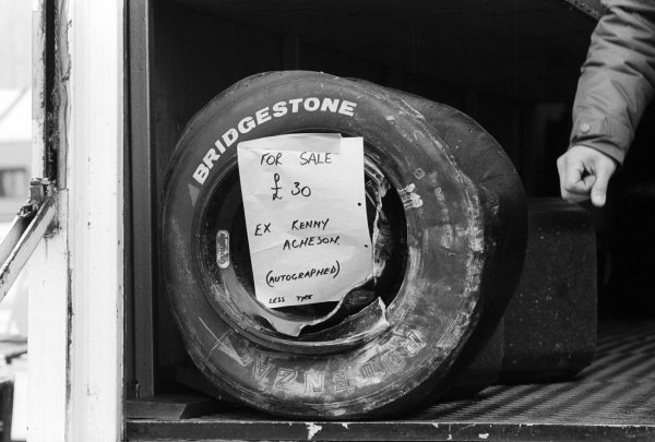 For sale: A damaged Bridgestone wheel signed by Kenny Acheson (GBR) Ralt Racing, who retired from the race on lap 37 with a blown engine.