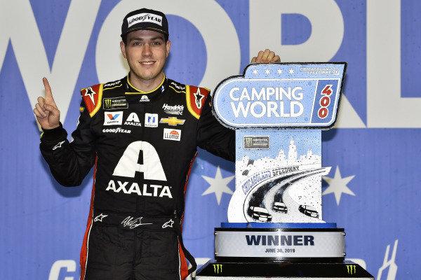 #88: Alex Bowman, Hendrick Motorsports, Chevrolet Camaro Axalta celebrates his win