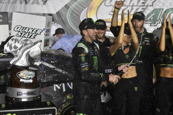 #1: Kurt Busch, Chip Ganassi Racing, Chevrolet Camaro Monster Energy celebrates his win