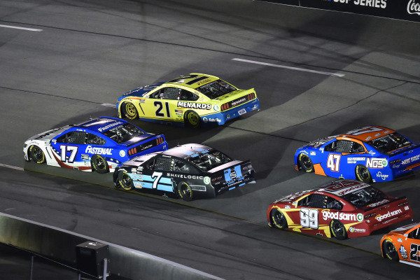 #17: Chris Buescher, Roush Fenway Racing, Ford Mustang Fastenal and #21: Matt DiBenedetto, Wood Brothers Racing, Ford Mustang Menards/Dutch Boy and #7: Corey LaJoie, Spire Motorsports, Chevrolet Camaro Shavelogic