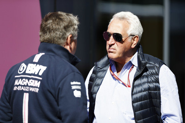 Lawrence Stroll talks to Otmar Szafnauer, Chief Operating Officer, Force India.