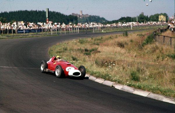 1957 German Grand Prix.Nurburgring, Germany.2-4 August 1957.Luigi Musso (Lancia-Ferrari D50 801) 4th position.Ref-57 GER 14.World Copyright - LAT Photographic