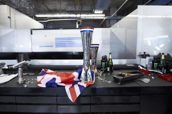 Trophies belonging to Lewis Hamilton, Mercedes AMG F1, and Valtteri Bottas, Mercedes AMG F1