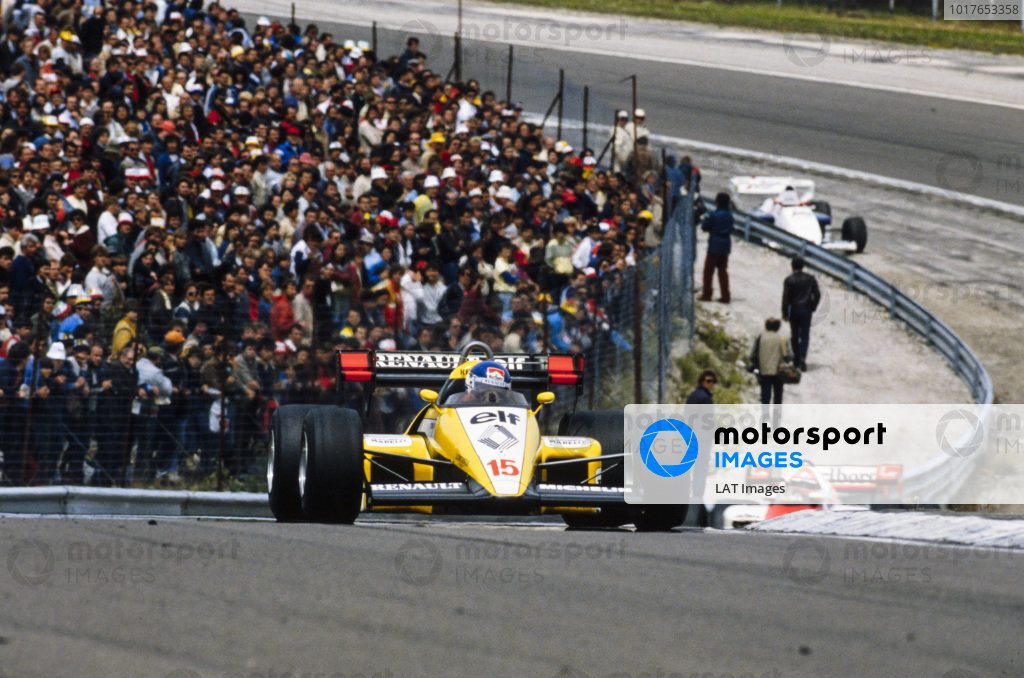 Patrick Tambay, Renault RE50, leads Niki Lauda, McLaren MP4-2 TAG.