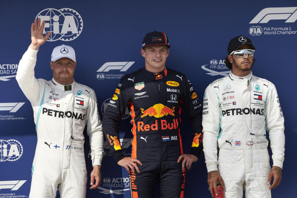Top three Qualifiers Valtteri Bottas, Mercedes AMG F1, pole man Max Verstappen, Red Bull Racing, and Lewis Hamilton, Mercedes AMG F1