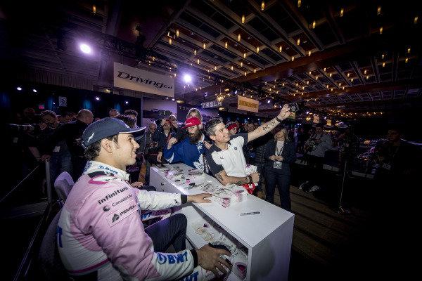 Sergio Perez, SportPesa Racing Point F1 Team fans selfie during the SportPesa Racing Point F1 Team Launch in Toronto