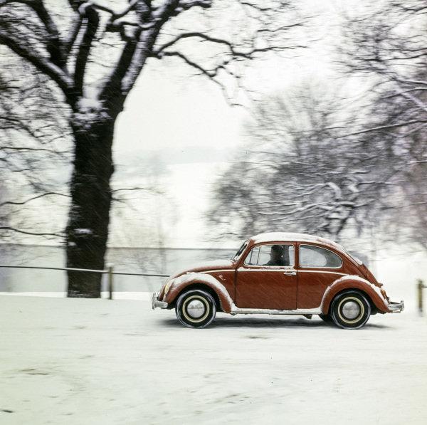 VW Beetle in snow.