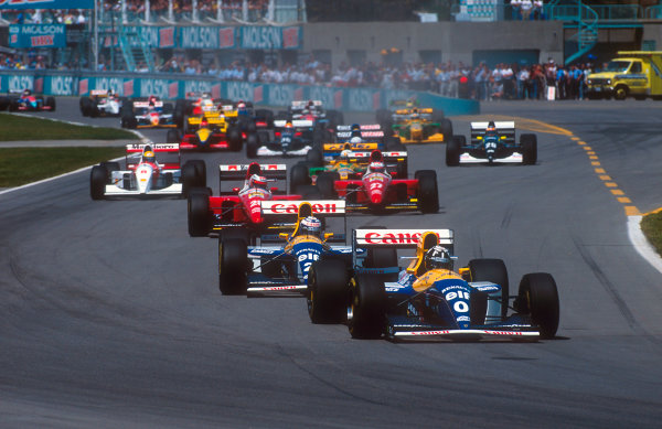 1993 Canadian Grand Prix.Montreal, Quebec, Canada.11-13 June 1993.Damon Hill leads Alain Prost (both Williams FW15C Renault's), Gerhard Berger, Jean Alesi (both Ferrari F93A's), Ayrton Senna (McLaren MP4/8 Ford) and Riccardo Patrese (Benetton B193B Ford) at the start.Ref-93 CAN 02.World Copyright - LAT Photographic