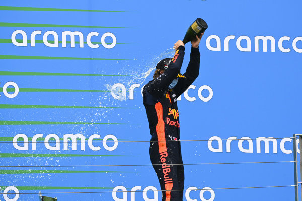 Dennis Hauger (NOR, HITECH GRAND PRIX) celebrates on the podium with the champagne