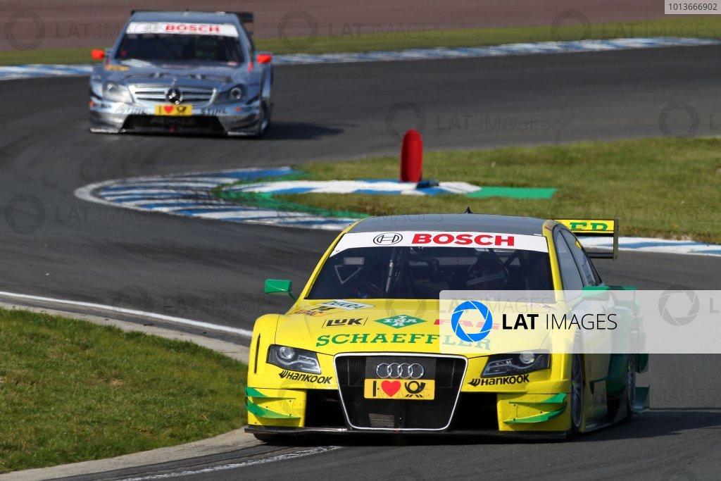 Martin Tomczyk (GER), Audi Sport Team Phoenix, Schaeffler Audi A4 DTM (2008) ahead of Jamie Green (GBR), AMG Mercedes C-Klasse (2009).DTM, Rd8, Oschersleben, Germany, 16-18 September 2011 Ref: Digital Image dne1117se575