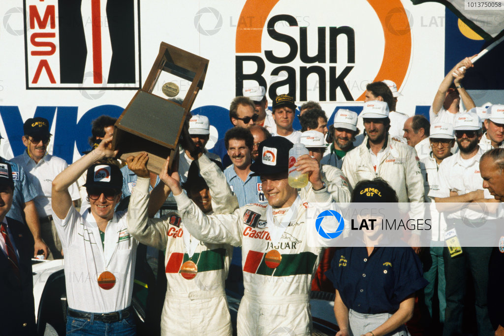 Daytona 24 Hours, Florida, USA. 30th - 31st January 1988. Rd 1.  Martin Brundle/Raul Boesel/John Nielsen (Jaguar XJR-9), 1st position,  podium, portrait. World Copyright: LAT Photographic. Ref: 88IMSA DAY02.