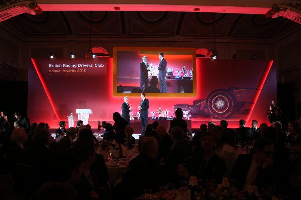 2015 British Racing Drivers Club Awards Grand Connaught Rooms, London Monday 7th December 2015 Jake Humphrey and Derek Warwick on stage. World Copyright: Jakob Ebrey/LAT Photographic ref: Digital Image Awards-03