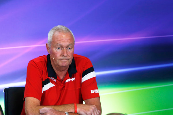 Silverstone Circuit, Northamptonshire, England. Friday 3 July 2015. John Booth, Team Principal, Manor Marussia F1, in the team principals Press Conference. World Copyright: Andrew Ferraro/LAT Photographic ref: Digital Image _FER1963