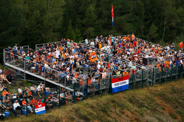 Spa Francorchamps, Belgium.  Saturday 26 August 2017. A stand containing a large contingent of Dutch Max Verstappen, Red Bull Racing, fans. World Copyright: Steven Tee/LAT Images  ref: Digital Image _O3I1521