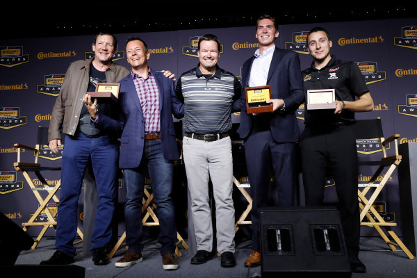 IMSA Continental Tire SportsCar Challenge Series Awards Banquet Road Atlanta, Braselton GA Friday 6 October 2017 Jeff Mosing, Eric Foss, Travis Roffler and Dillon MacHavern & Dylan Murcott with Championship ring World Copyright: Michael L. Levitt LAT Images