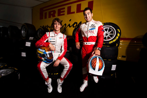Round 5.Hockenheim, Germany. 22nd July 2010. Thursday Preview. Daniel Morad, (CAN, Status Grand Prix) and Esteban Gutierrez, (MEX, ART Grand Prix), winners of races 7 and 8 in the GP3 series at Silverstone. Portrait. World Copyright: Drew Gibson/LAT PhotographicDigital Image _Y8P1996
