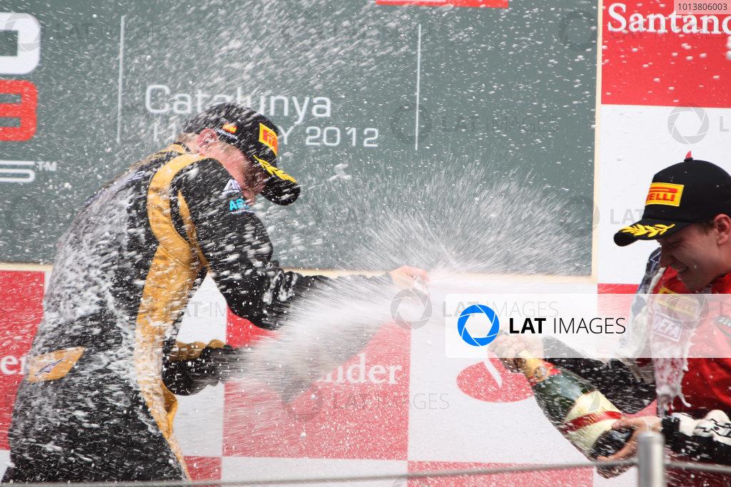Circuit de Catalunya, Barcelona, Spain. 13th May 2012. Sunday Race. Conor Daly (USA, Lotus GP) Matias Laine (FIN, MW Arden) celebrate on the podium. Portrait.  Photo: Glenn Dunbar/GP3 Media Service. ref: Digital ImageCG8C4501.jpg