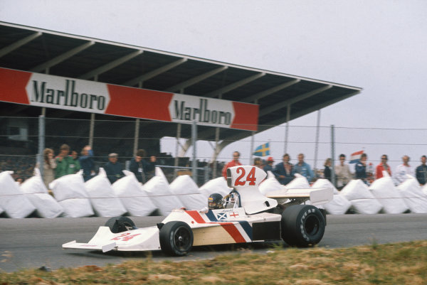 Zandvoort, Holland. 20-22 June 1975. James Hunt, Hesketh 308 Ford. Ref: 75HOL06. World Copyright - LAT Photographic