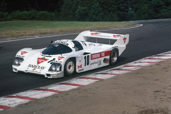 Mosport Park, Ontario, Canada. 11th August 1985. Rd 6.Marc Surer/Manfred Winkelhock (Porsche 962C), retired, fatal accident to Winkelhock on lap 69, action. World Copyright: LAT Photographic.Ref:  85MOS01