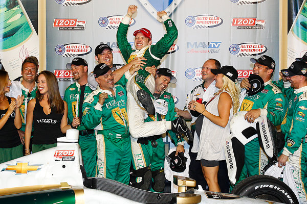 14-15, September, 2012, Fontana, California, USAEd Carpenter celebrates with his team after winning the MAVTV 500.(c) 2012, Perry NelsonLAT Photo USA