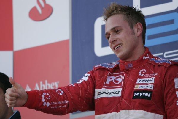 2007 GP2 Series Round 5. Silverstone, England. 8th July 2007. Sunday Race.Adam Carroll (GBR, Petrol Ofisi FMS International) celebrates victory. World Copyright: Andrew Ferraro/GP2 Series Media Service.  ref: Digital Image _F6E6873