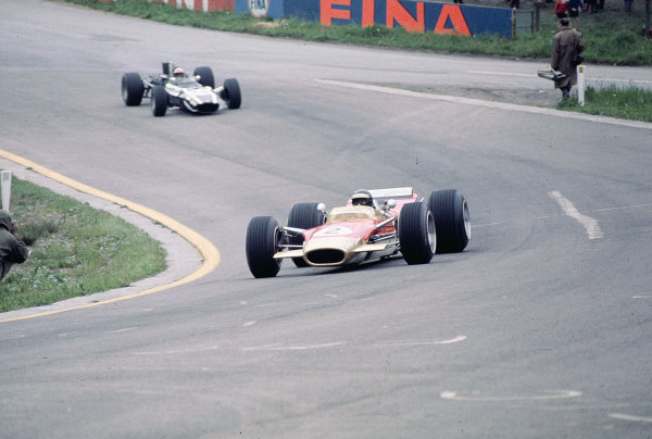 1968 Belgian Grand Prix.Spa-Francorchamps, Belgium.7-9 June 1968.Jackie Oliver (Lotus 49B Ford) 5th position.Ref-68 BEL 01.World Copyright - LAT Photographic