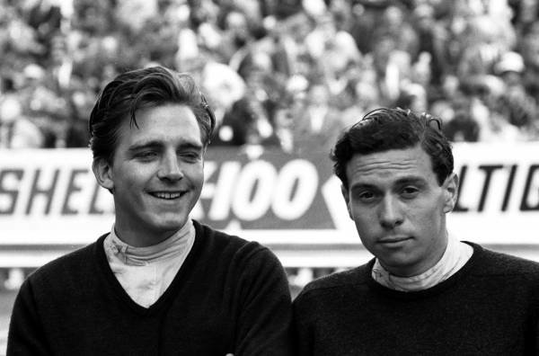Trevor Taylor(GBR) left, and Jim Clark(GBR) Team Lotus Monaco GP 1962
