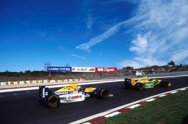 Michael Schumacher leads Alain Prost
