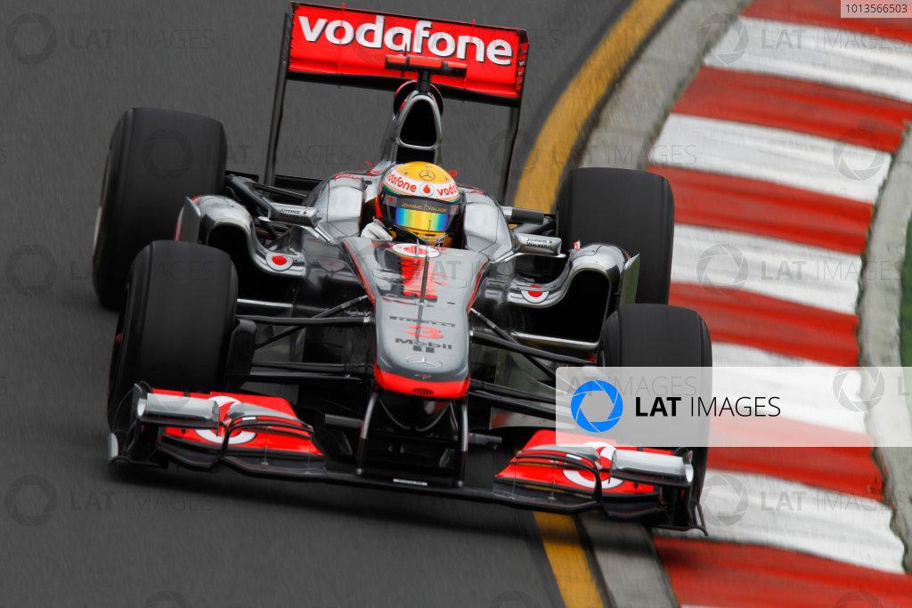 Albert Park, Melbourne, Australia 25th March 2011. Lewis Hamilton, McLaren MP4-26 Mercedes. Action.  World Copyright: Andrew Ferraro/LAT Photographic ref: Digital Image _Q0C8116