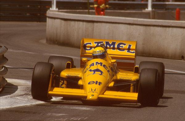 1987 Monaco Grand Prix. Monte Carlo, Monaco. 28th - 31st May 1987.  Ayrton Senna (Lotus 99T Honda),1st position, action. Ref-87 MON 31.World Copyright - LAT Photographic