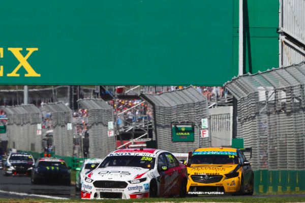 Will Davison, 23Red Racing Ford, leads Tim Slade, Brad Jones Racing Holden.