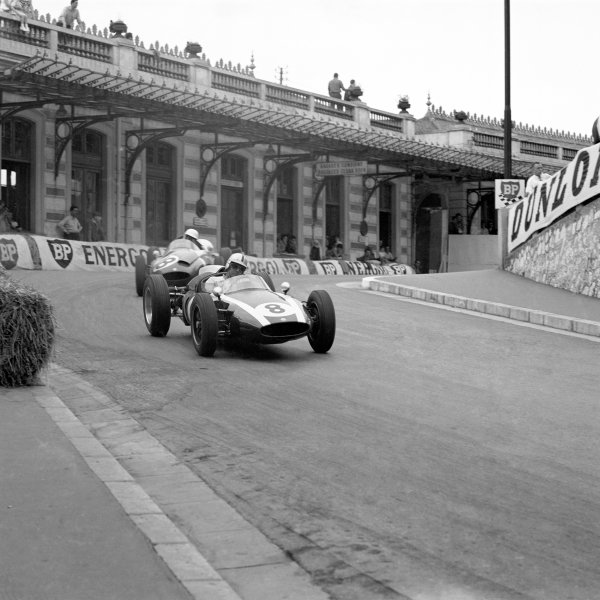 1960 Monaco Grand Prix. Monte Carlo, Monaco. 26-29 May 1960. Jack Brabham (Cooper T53 Climax) leads Tony Brooks (Cooper T51 Climax) out of Station Hairpin. Ref-6493. World Copyright - LAT Photographic