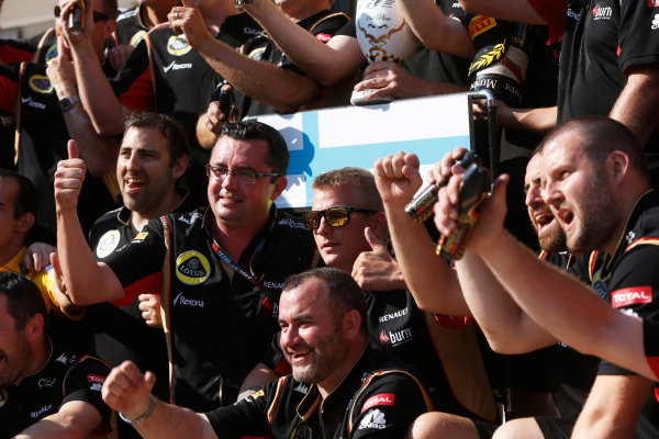 Hungaroring, Budapest, Hungary 28th July 2013 Kimi Raikkonen, Lotus F1, 2nd position, Eric Boullier, Team Principal, Lotus F1, and the Lotus F1 team celebrate World Copyright: Charles Coates/LAT Photographic ref: Digital Image _N7T4089