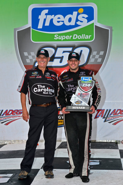 October 18-19, 2013, Talladega, Alabama USA Dennis Conner and Johnny Sauter in Victory Lane © 2013, Brian Czobat LAT Photo USA