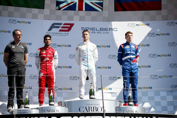 Race winner Jake Hughes (GBR) HWA RACELAB, Second place Jehan Daruvala (IND) PREMA Racing and third place Robert Shwartzman (RUS) PREMA Racing on the podium