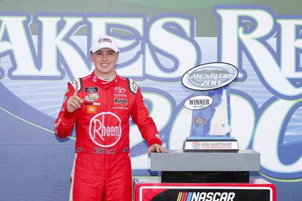 #20: Christopher Bell, Joe Gibbs Racing, Toyota Camry Rheem celebrates in victory lane