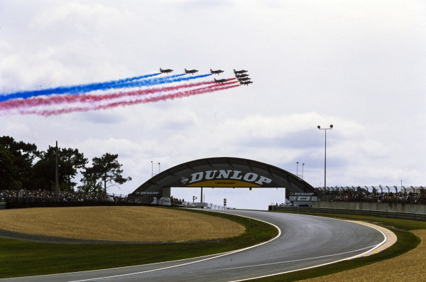 An aerial display over the track.