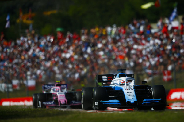 George Russell, Williams Racing FW42, leads Lance Stroll, Racing Point RP19