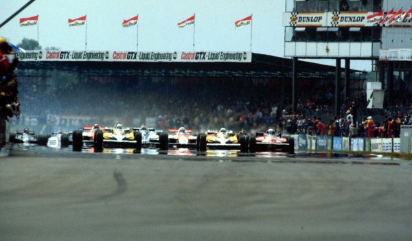 1981 British Grand Prix.Silverstone, England.16-18 July 1981.Rene Arnoux and Alain Prost (both Renault RE30's) lead at the start.World Copyright - LAT Photographic