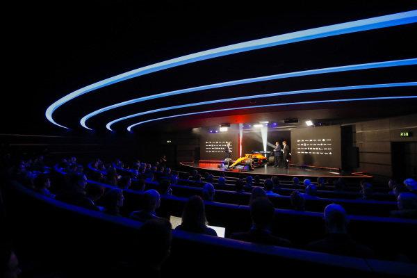 Simon Lazenby, Sky TV, Zak Brown, CEO, McLaren Racing and Andreas Seidl, Team Principal, McLaren at the launch of the MCL35