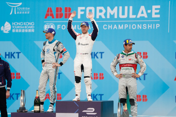 Sam Bird (GBR), Envision Virgin Racing celebrates victory on the podium with Edoardo Mortara (CHE) Venturi Formula E, 2nd position, and Lucas Di Grassi (BRA), Audi Sport ABT Schaeffler, 3rd position