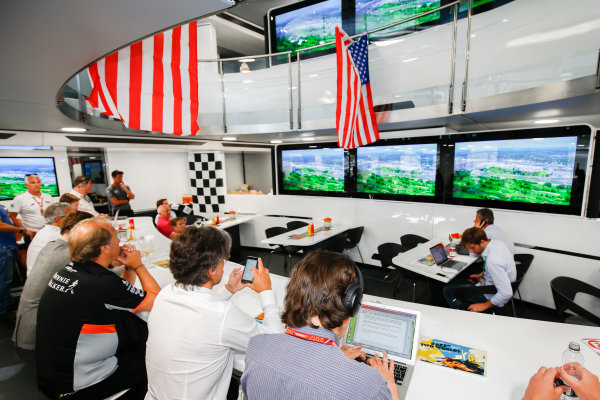 Monte Carlo, Monaco. Sunday 28 May 2017. McLaren adopts a distinctly American feel in the hospitality area, in celebration of their participation in the Indy 500 with Fernando Alonso, McLaren. World Copyright: Andy Hone/LAT Images ref: Digital Image _ONZ0890