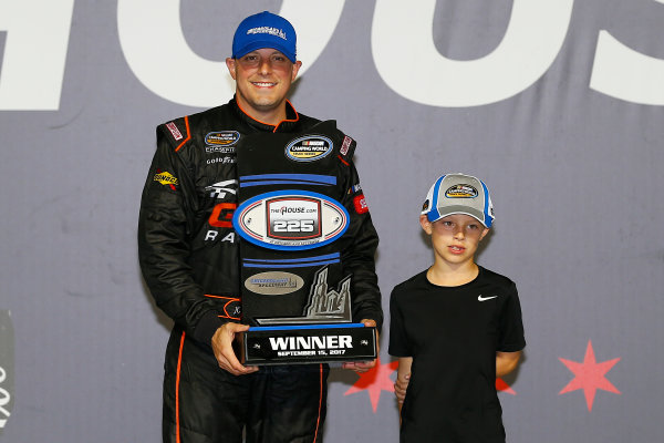 NASCAR Camping World Truck Series TheHouse.com 225 Chicagoland Speedway, Joliet, IL USA Friday 15 September 2017 Johnny Sauter, ISMConnect Chevrolet Silverado celebrates in victory lane  World Copyright: Russell LaBounty LAT Images