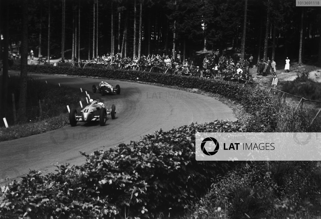 Nurburgring, Germany. 25 July 1937.Ernst von Delius, Auto Union C, retired, fatal crash with Dick Seaman, leads Rudolf Hasse, Auto UnionC, 5th position, action. World Copyright: Robert Fellowes/LAT PhotographicRef: RF37_GER_75.
